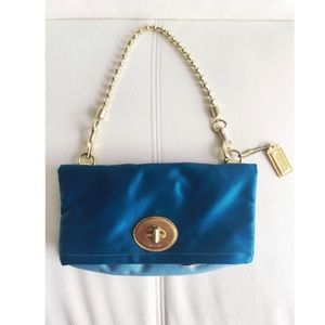 Rare Coach Amanda Blue Satin Foldover Purse